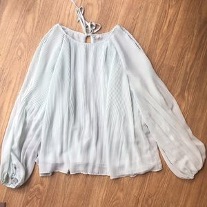 Cato pleated cold shoulder long sleeve blouse